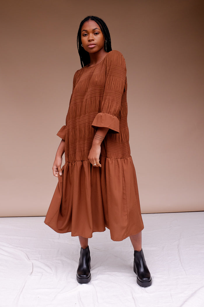 Just Female Lucille dress rich camel emperador recycled smock | pipe and row pipeandrow.com