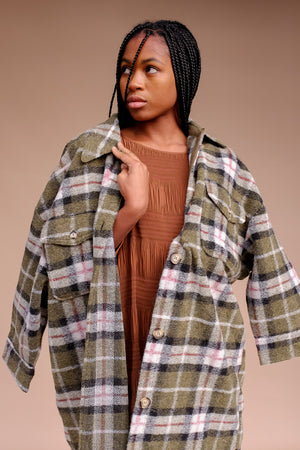Blake plaid long button up jacket green plaid flannel wool | Pipe and Row boutique