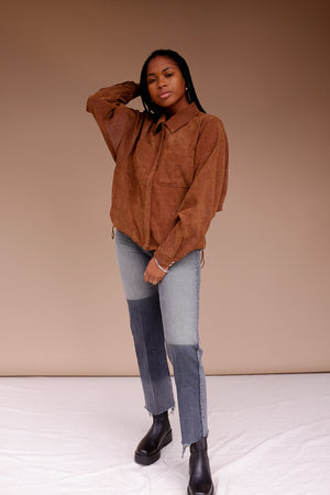 Just Female Buffy jacket Corduroy button up shirt camel | pipe and row