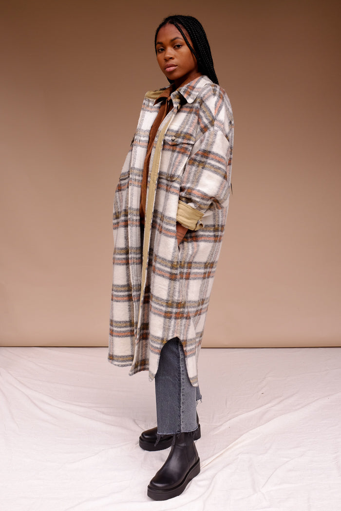 Blake plaid long button up jacket tan plaid curved dolphin hem | pipe and row