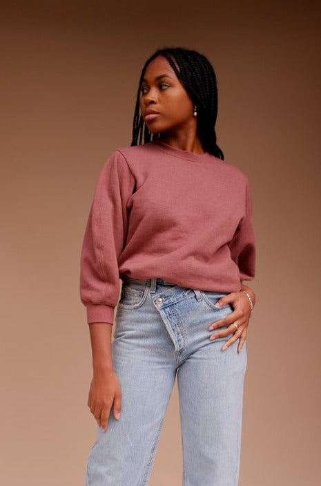 Agolde Thora cropped sweatshirt rhubarb heather red | pipe and row seattle