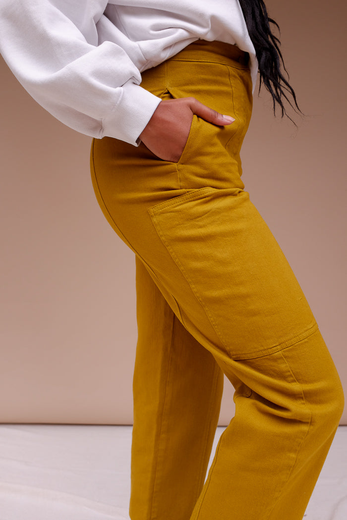 Rita Row Rene high waist cargo trousers jeans  mustard | Pipe and Row
