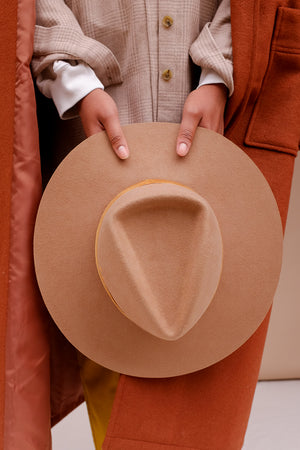 Lack of Color Benson Tri teak brown hat orange stitching | Pipe and Row