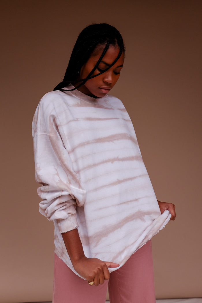 ISLAND EVENINGS PULLOVER oversized tie dye tan nude | Pipe and Row