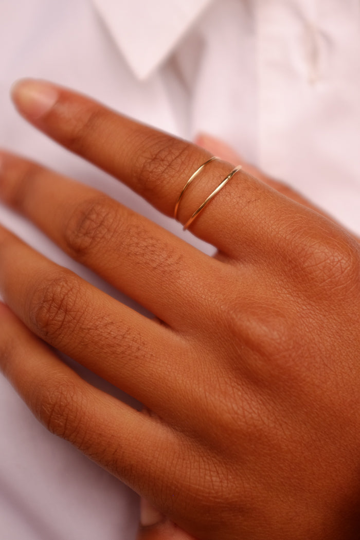 Ultra thin smooth stacking ring gold tiny | PIPE AND ROW seattle pipeandrow.com