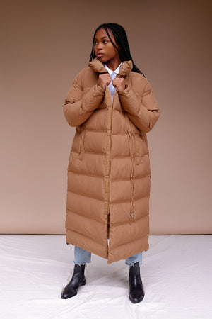 Just Female Whistler long puffer jacket walnut camel brown | pipe and row