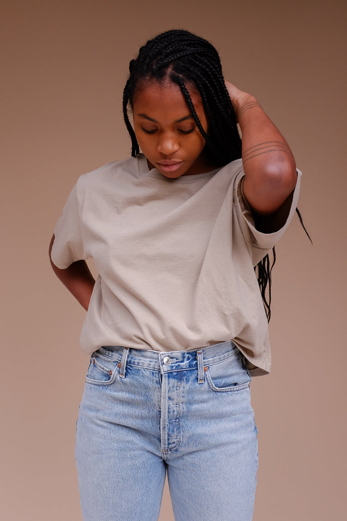 JADE CROPPED TEE DUSTY OLIVE