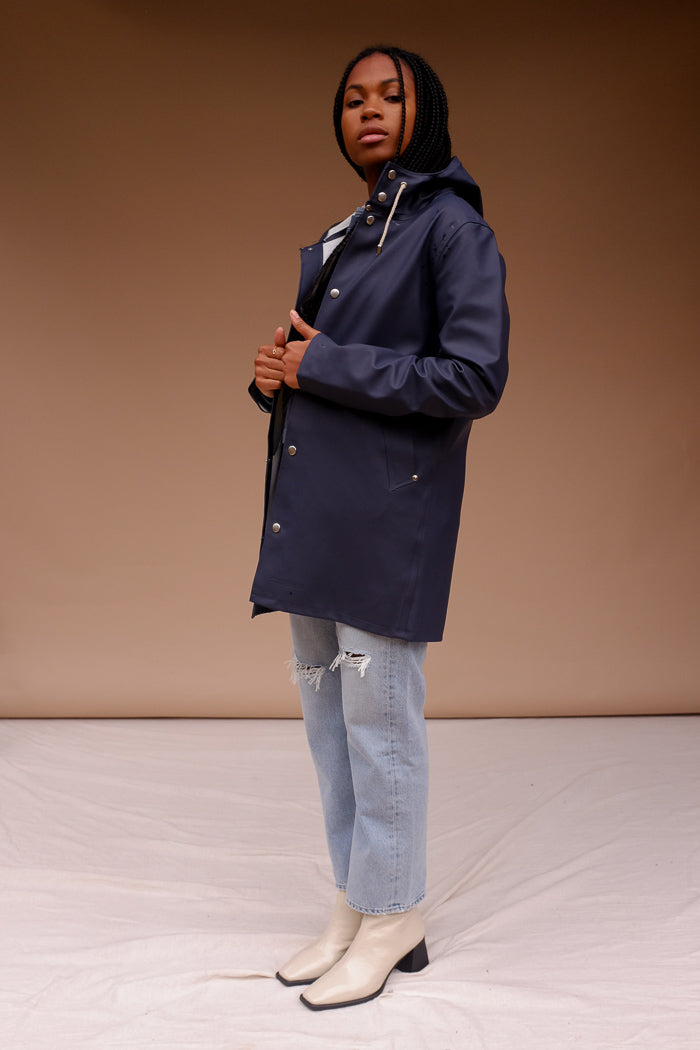 STUTTERHEIM STOCKHOLM matte rain JACKET NAVY | PIPE AND ROW seattle local