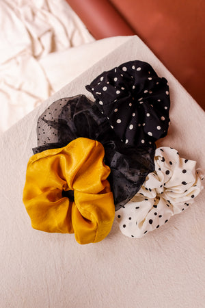 SHEER BLACK DOT SCRUNCHIE