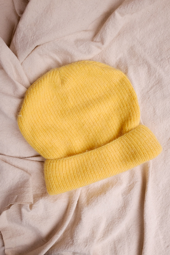 Smith knit yellow beanie perfect fuzzy beanie angora | PIPE AND ROW