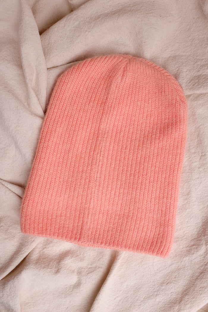 Smith knit beanie perfect fuzzy beanie winter pink coral | Pipe and row