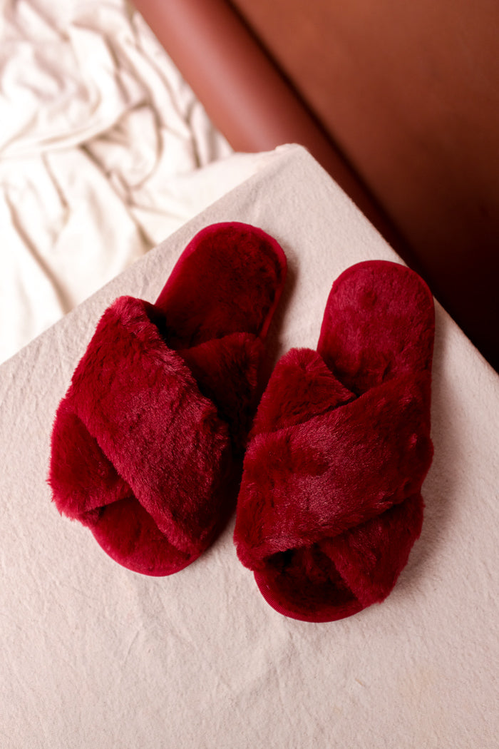 Fuzzy crimson red criss-cross cozy open toe slippers rubber sole | Pipe and Row