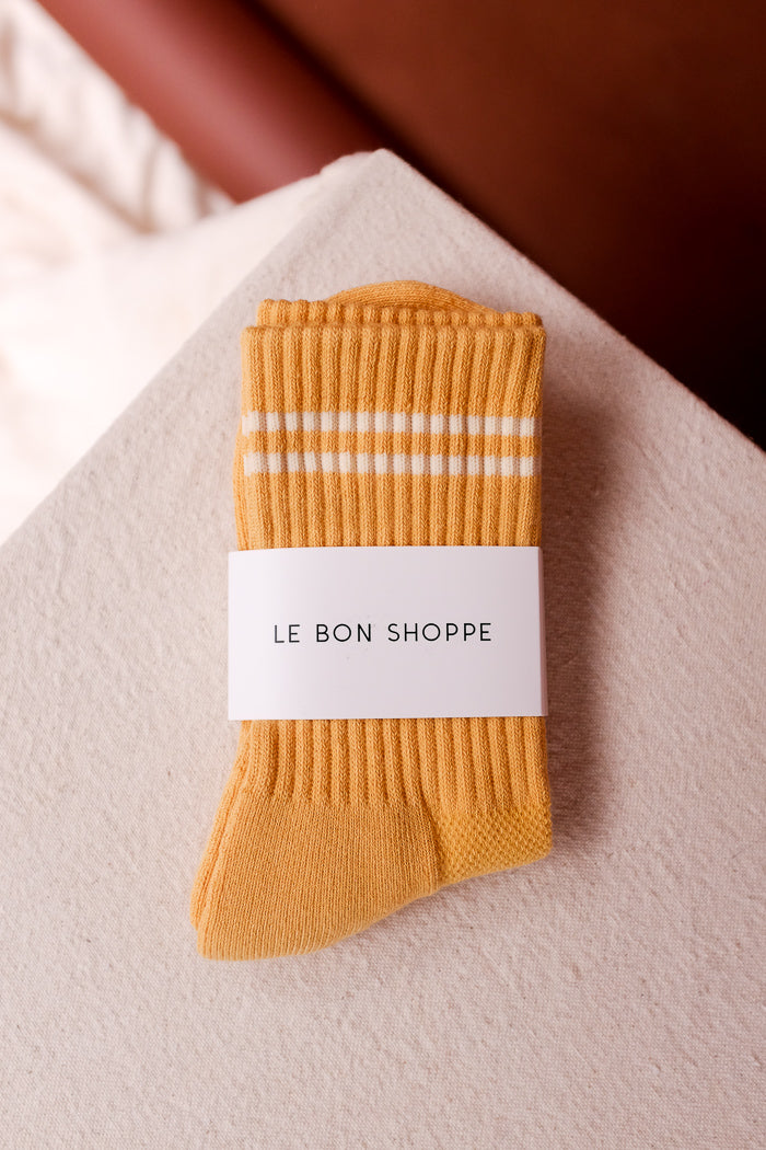 Le Bon Shoppe Boyfriend socks ribbed butter yellow | PIPE AND ROW boutique seattle