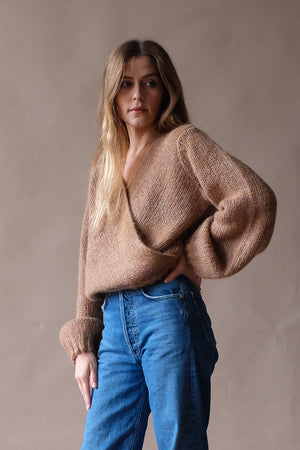 JUST Dolly wrap sweater warm taupe brown | pipe and Row