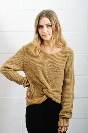 Jojo knot twist front taupe sweater Pipe and Row boutique