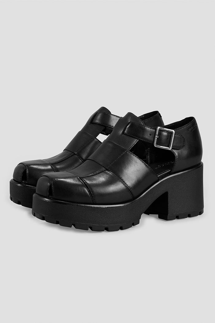 Vagabond Dioon 2 chunky sandal platforms black leather | pipe and row