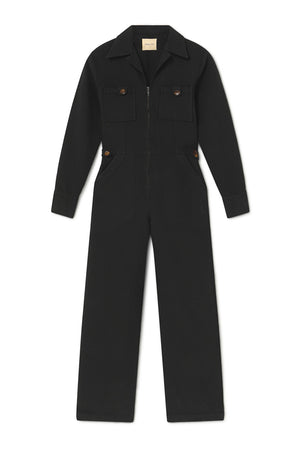 Paloma Wool Dolores black jumpsuit long sleeved cotton  | pipe and row boutique