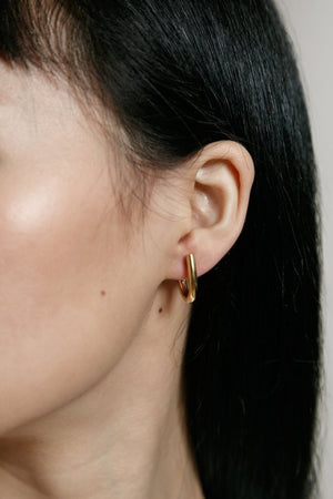 Wolf Circus Harper hoop earrings gold | pipe and row recycled metal, shop local, shop small, sustainable, ethical jewelry