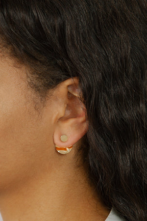Wolf Circus Harrise textured circle ear jacket earrings gold | Pipe and ROw