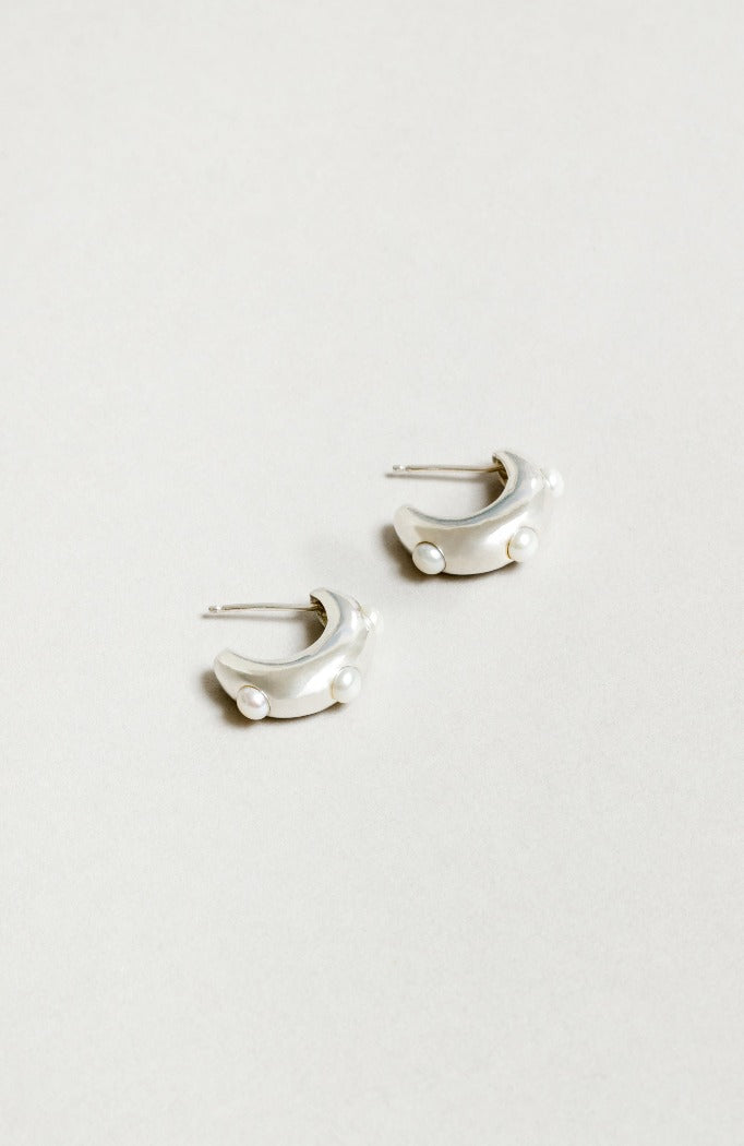 Wolf Circus Isla Pearl hoops embedded sterling silver | pipe and row