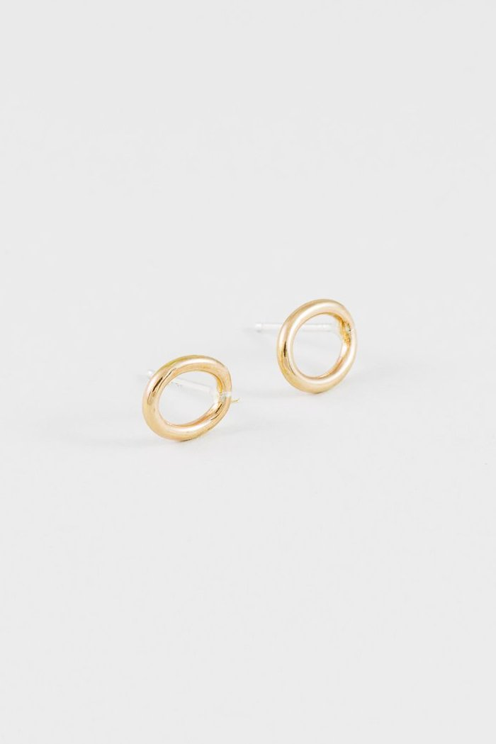 minimalistic circle loop earrings wolf circus gold | pipe and row seattle