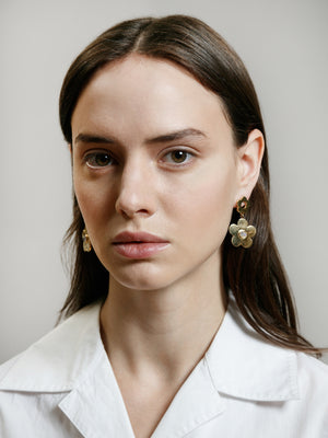 Wolf Circus jewelry Paisley drop earrings with moonstone inlays gold | Pipe and Row boutique sustainable ethical