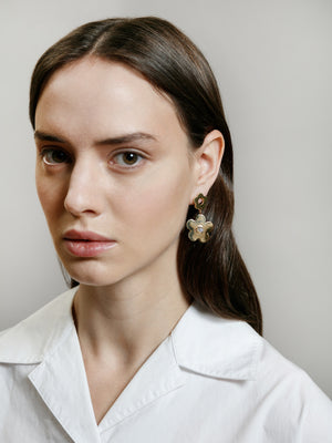 Wolf Circus jewelry Paisley flower drop earrings with moonstone inlays gold | Pipe and Row boutique sustainable ethical