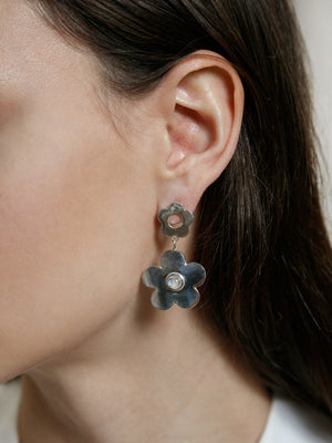 Wolf Circus jewelry Paisley flower drop earrings with moonstone inlays sterling | Pipe and Row boutique sustainable ethical