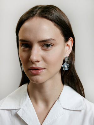 Wolf Circus jewelry Paisley drop earrings with moonstone inlays sterling | Pipe and Row boutique sustainable ethical