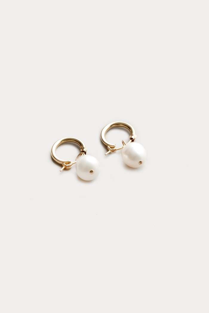 Wolf Circus fresh water Pearl small gold Hoops recycled metal sustainable | pipe and row