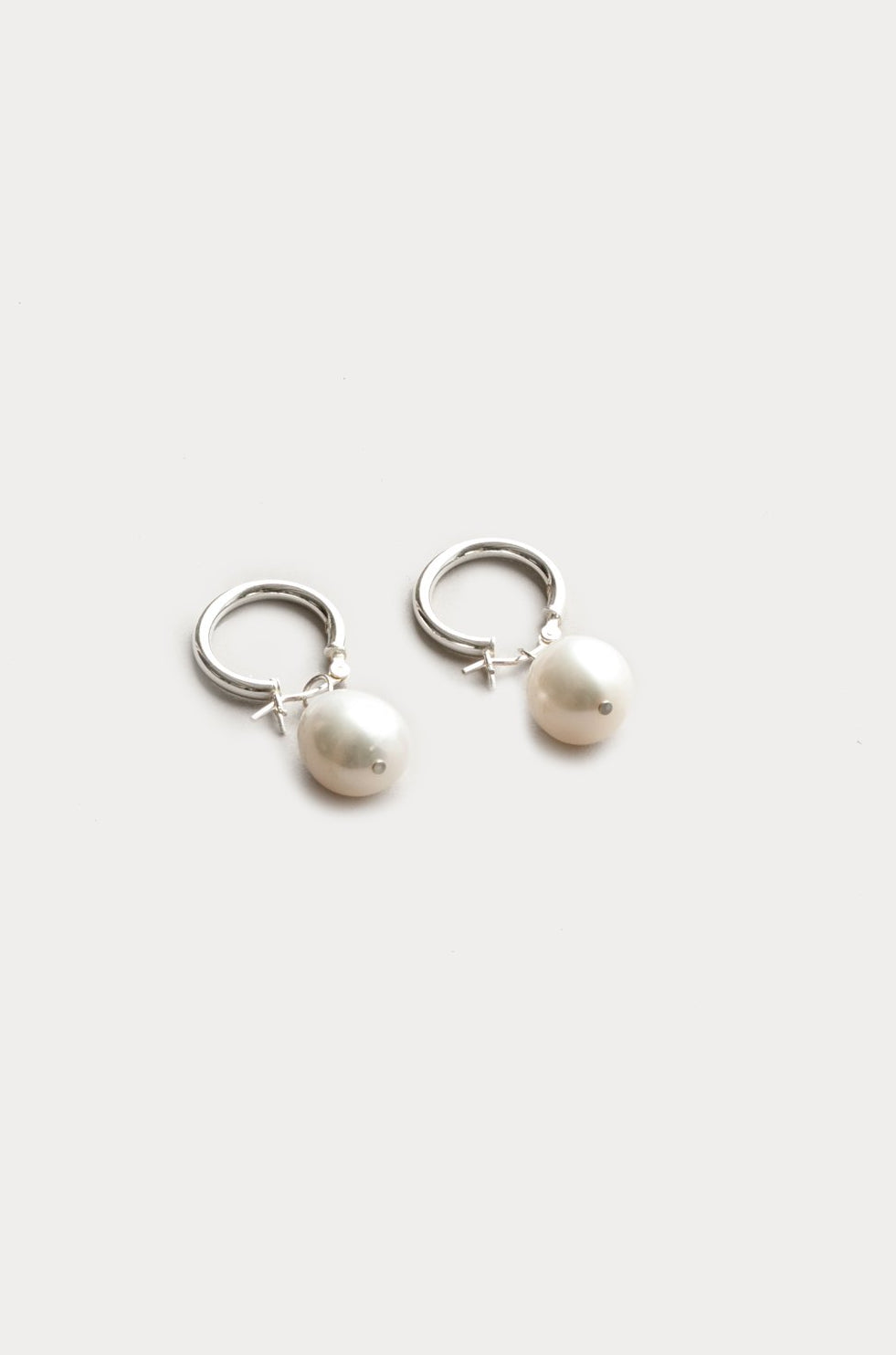 Wolf Circus fresh water Pearl small Hoops recycled metal sustainable ethically made | pipe and row