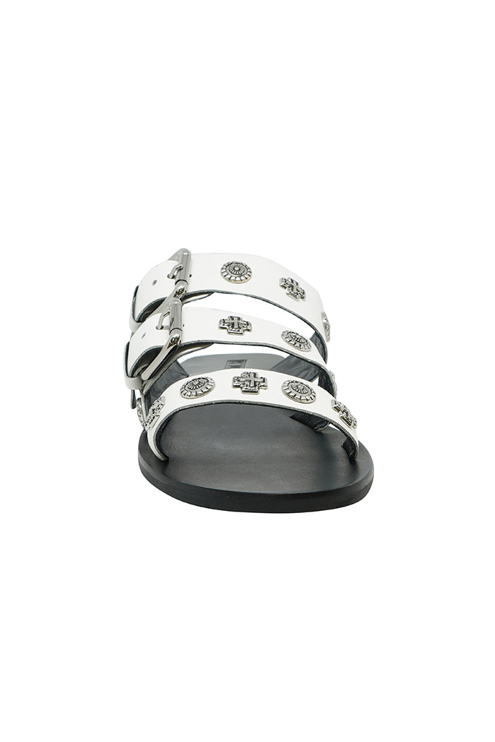 Sol Sana triple strap Eastwood sandal slides white leather silver stud | Pipe and Row