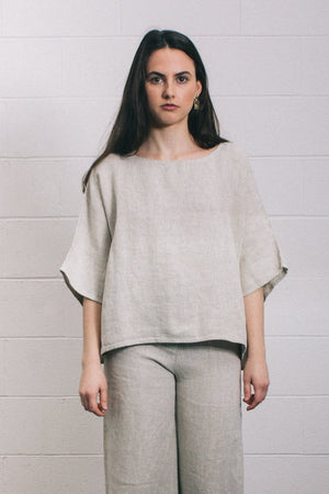 Filosofia textured short sleeve Eleanor linen top side slits | pipe and row
