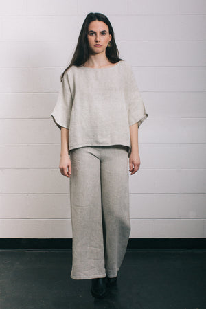 Filosofia textured short sleeve Eleanor linen top side slits matching set | pipe and row