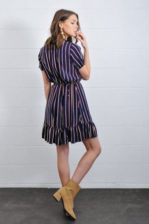 navy mini feminine wrap dress striped short sleeve rue stiic | pipe and row