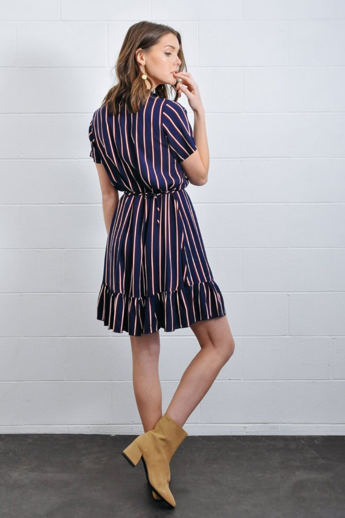 mini wrap flores dress navy stripe rue stiic | pipe and row seattle shopping