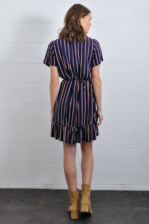 short sleeve striped wrap dress ruffled hem rue stiic | pipe and row