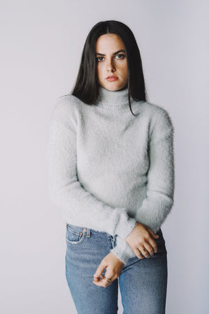 Francesca light grey textured fuzzy sweater | PIPE AND ROW Boutique Seattle