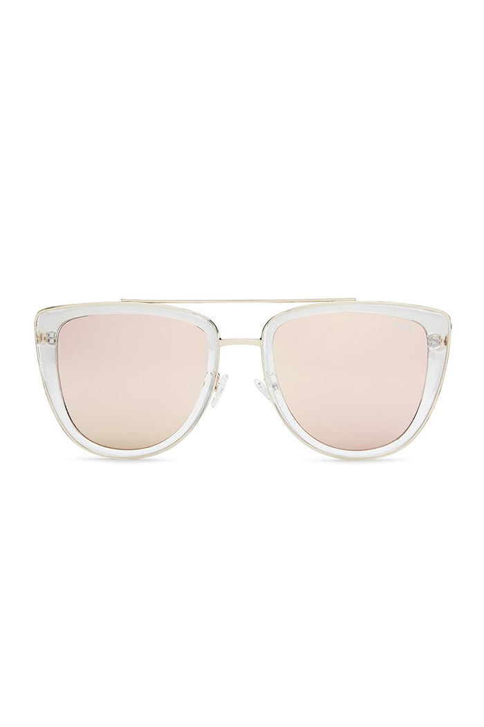 cat eye french kiss clear frame rose mirrored lens quay | pipe and row