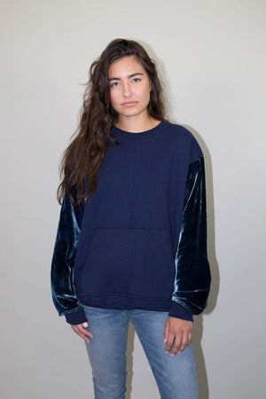 Galeras velvet pullover crewneck drifter | pipe and row boutique