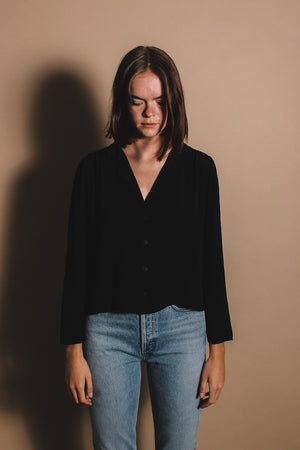 Lacausa Gemma blouse button up black | pipe and row boutique seattle Fremont