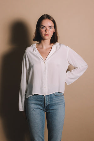 Lacausa Gemma blouse button up panna cotta | pipe and row boutique seattle Fremont