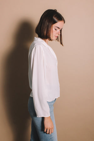 Lacausa Gemma blouse button up panna cotta white cream long sleeve | pipe and row boutique seattle Fremont