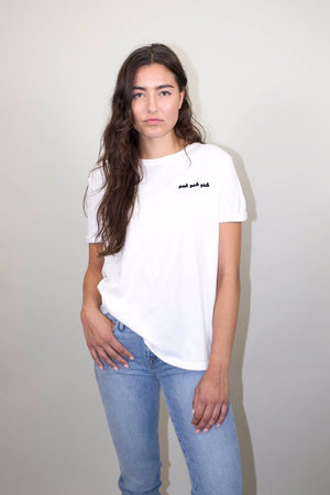 GIRLS GIRLS GIRLS CHAIN STITCH TEE Brunette | pipe and row seattle