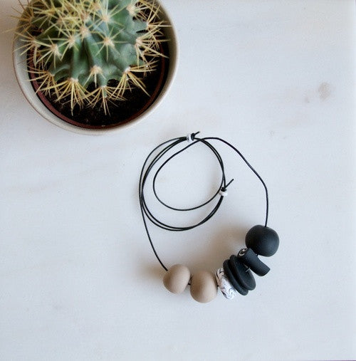 Grey scale necklace handmade sea + pattern portland | pipe and row