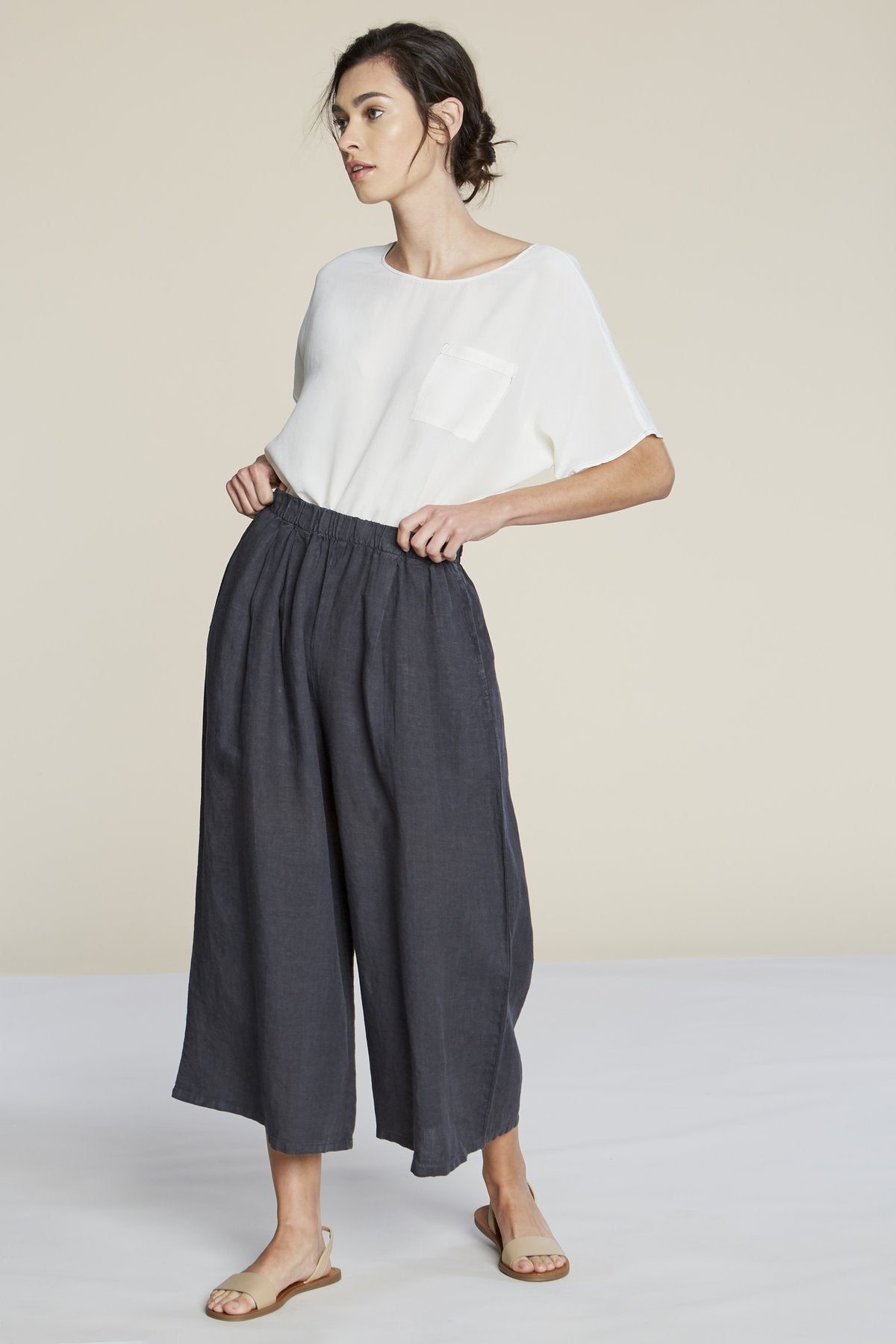ab040a366b0b Filosofia cropped linen Hailey Pants elastic waist | pipe and row