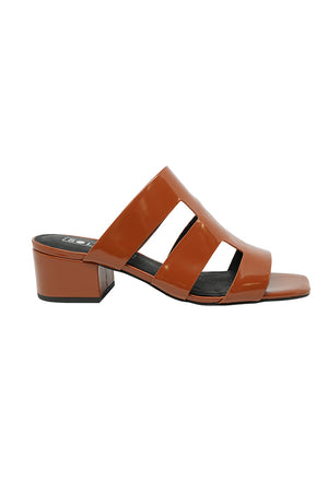 Sol Sana Harper caged open toe mule sandal shoe burnt tan gloss | Pipe and Row