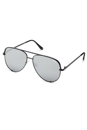 high key aviator sunglasses black mirrored lens quay by desi | pipe and row