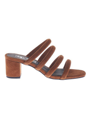 suede heels block holt mule chestnut sol sana | pipe and row