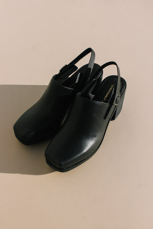 Intentionally Blank Honcho mule heel square toe black leather | pipe and row